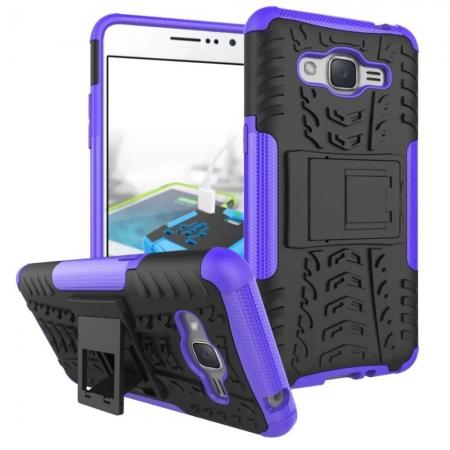Hybrid TPU Hard Shockproof Cover Case Kickstand for Samsung Galaxy J2 Prime - Purple