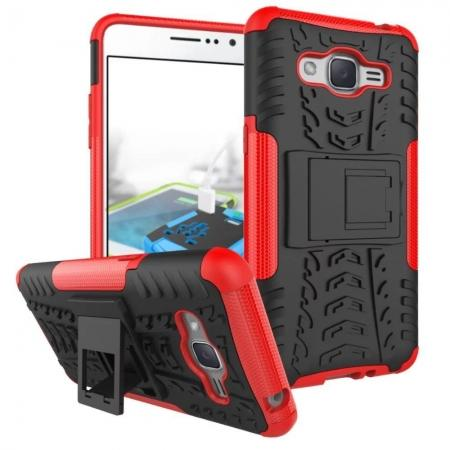 Hybrid TPU Hard Shockproof Cover Case Kickstand for Samsung Galaxy J2 Prime - Red