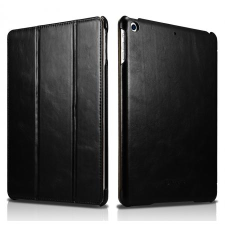 ICARER Vintage Series Genuine Leather Stand Case For Apple New iPad 9.7 (2017) - Black