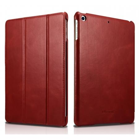 ICARER Vintage Series Genuine Leather Stand Case For Apple New iPad 9.7 (2017) - Red