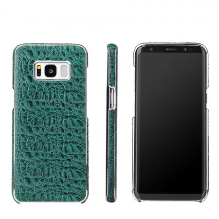 Luxury Genuine Leather Crocodile Grain Back Covers Cases For Samsung Galaxy S8+ Plus - Green