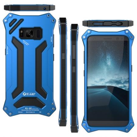 R-just Waterproof Shockproof Dustproof Metal Aluminum Silicone Case For Samsung Galaxy S8 - Blue