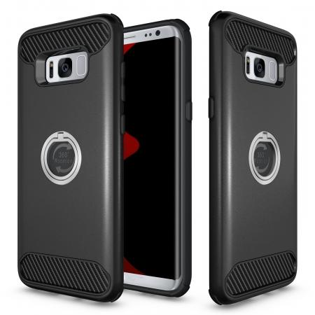 Ring Grip Holder Shockproof Protective Case With Kickstand for Samsung Galaxy S8+ Plus - Black