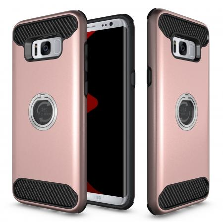 Ring Grip Holder Shockproof Protective Case With Kickstand for Samsung Galaxy S8+ Plus - Rose gold