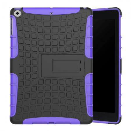 Rugged Armor Shockproof Dual Layer Protective Kickstand Case For Apple iPad 9.7 (2017) - Purple