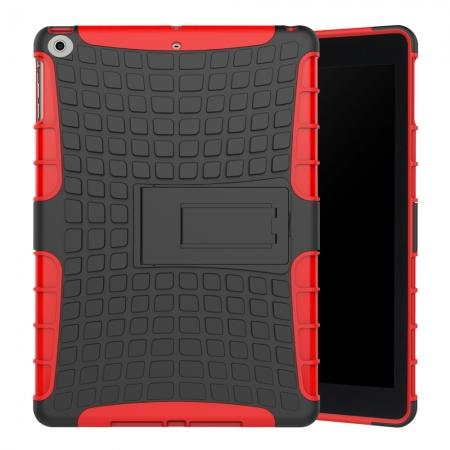 Rugged Armor Shockproof Dual Layer Protective Kickstand Case For Apple iPad 9.7 (2017) - Red