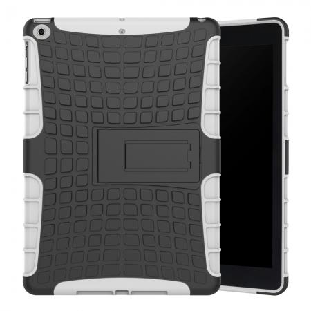 Rugged Armor Shockproof Dual Layer Protective Kickstand Case For Apple iPad 9.7 (2017) - White