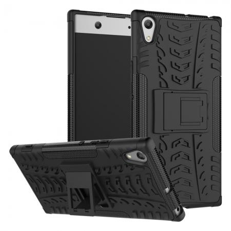 Rugged Dual Layer Hard /TPU Hybrid Defender Kickstand Case For Sony Xperia XA1 Ultra - Black