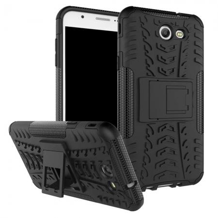 Shockproof Protection Dual Protective Armor Case Cover with Kickstand for Samsung Galaxy J7 Prime 2017 - Black