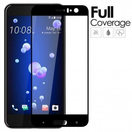 Black Full Coverage 9H Hardness Tempered Glass Screen Protector Film For HTC U11