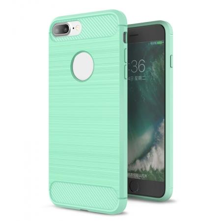 Brushed Metal Texture Soft TPU Silicone Carbon Fiber Protective Cover for iPhone 7 Plus - Mint Green