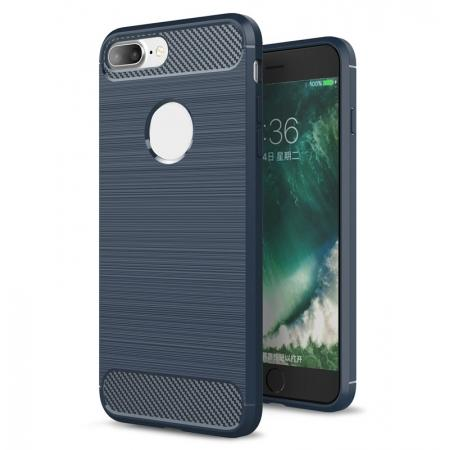 Brushed Metal Texture Soft TPU Silicone Carbon Fiber Protective Cover for iPhone 7 Plus - Navy Blue