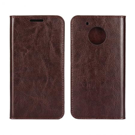 Crazy Horse Genuine Leather Wallet Case Stand For Motorola Moto G5 Plus - Coffee