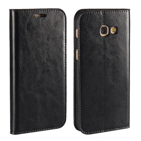 Crazy Horse Genuine Leather Wallet Case with Stand For Samsung Galaxy A5 2017 - Black