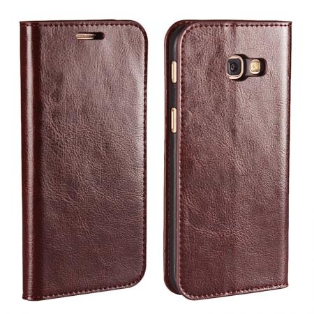 Crazy Horse Genuine Leather Wallet Case with Stand For Samsung Galaxy A5 2017 - Coffee