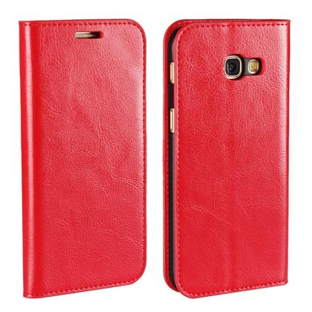 Crazy Horse Genuine Leather Wallet Case with Stand For Samsung Galaxy A5 2017 - Red
