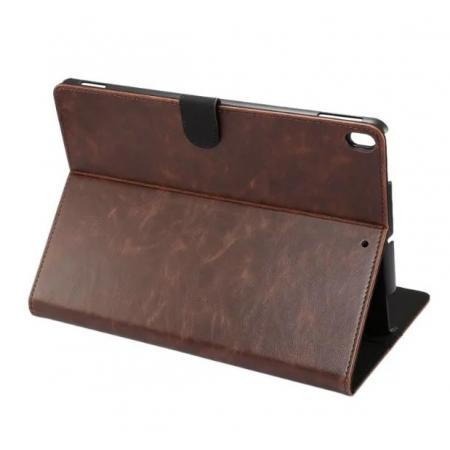 Crazy Horse Leather Folio Stand Case Cover For iPad Pro 10.5-inch - Dark Brown