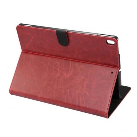 Crazy Horse Leather Folio Stand Case Cover For iPad Pro 10.5-inch - Wine Red
