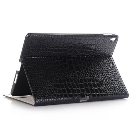 Crocodile Folio Flip Leather Stand Case Cover for iPad Pro 10.5-inch - Black