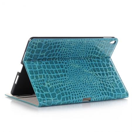 Crocodile Folio Flip Leather Stand Case Cover for iPad Pro 10.5-inch - Blue