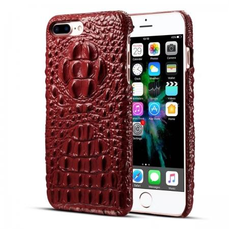 Crocodile Head Pattern Genuine Cowhide Leather Back Cover Case for iPhone 7 Plus 5.5 inch - Red