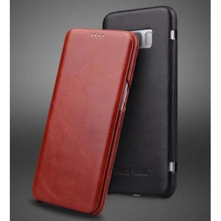 Genuine Cowhide Leather Flip Wallet Case for Samsung Galaxy S8 S8+ Plus