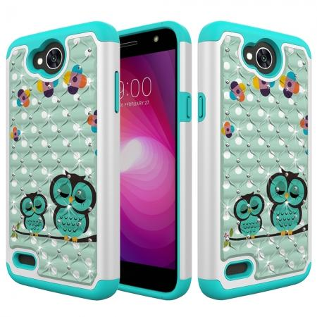Luxury Diamond Bling Hybrid Dual Layer Shockproof Case For LG X Power 2 / Fiesta LTE - Owl