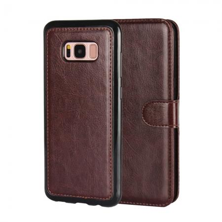 Luxury Wallet Leather Detachable Case Stand Cover For Samsung Galaxy S8+ Plus - Coffee
