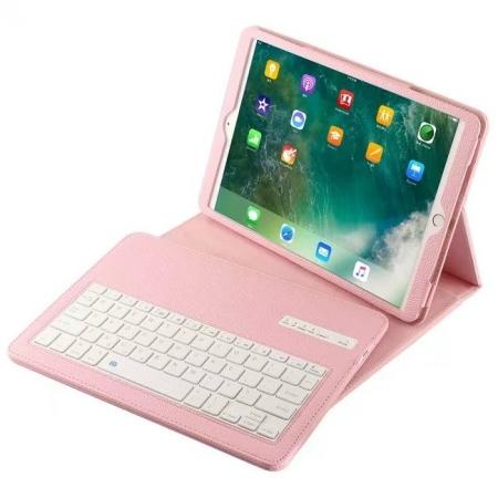 Removable Bluetooth Keyboard Leather Case for 10.5-inch iPad Pro - Pink