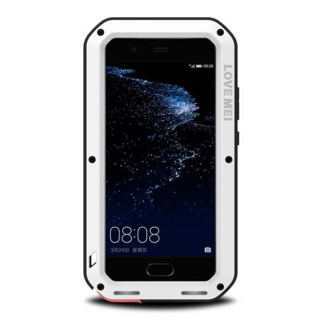 Waterproof Shockproof Aluminum Gorilla Glass Metal Case Cover For Huawei P10 - White