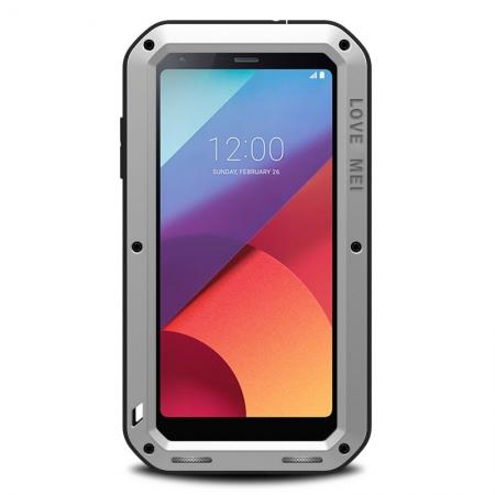 Waterproof Shockproof Aluminum Gorilla Glass Metal Case Cover For LG G6 - Silver
