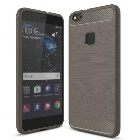 Carbon Fiber Brushed Texture Shockproof Soft TPU Case For Huawei P10 Lite - Gray