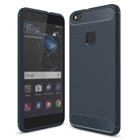Carbon Fiber Brushed Texture Shockproof Soft TPU Case For Huawei P10 Lite - Navy blue