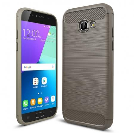 Case For Samsung Galaxy A5 2017 Carbon Fiber Brushed Rubber Bumper Soft TPU Case Cover - Grey