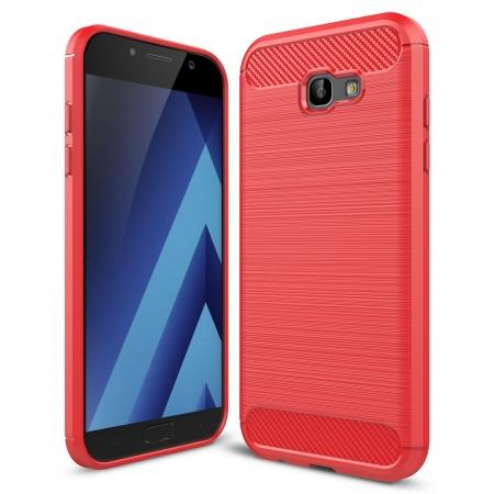 Case for Samsung Galaxy A7 2017 Carbon Fiber Texture Brushed Soft TPU Case Back Cover - Red