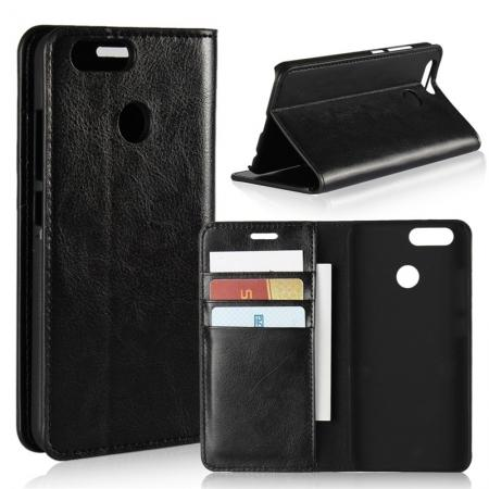 Crazy Horse Genuine Leather Flip Wallet Case Stand For Huawei Nova 2 - Black