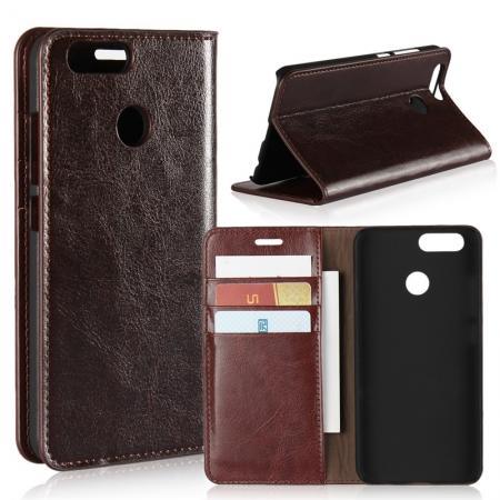 Crazy Horse Genuine Leather Flip Wallet Case Stand For Huawei Nova 2 - Coffee