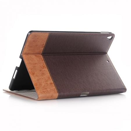 Cross Pattern PU Leather Flip Folio Wallet Card Holders Case for iPad Pro 10.5-inch - Coffee