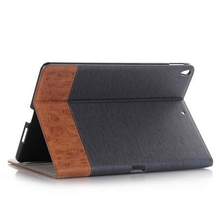Cross Pattern PU Leather Flip Folio Wallet Card Holders Case for iPad Pro 10.5-inch - Grey