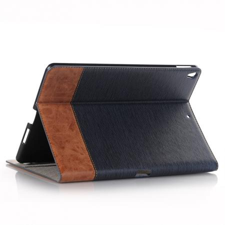 Cross Pattern PU Leather Flip Folio Wallet Card Holders Case for iPad Pro 10.5-inch - Navy Blue