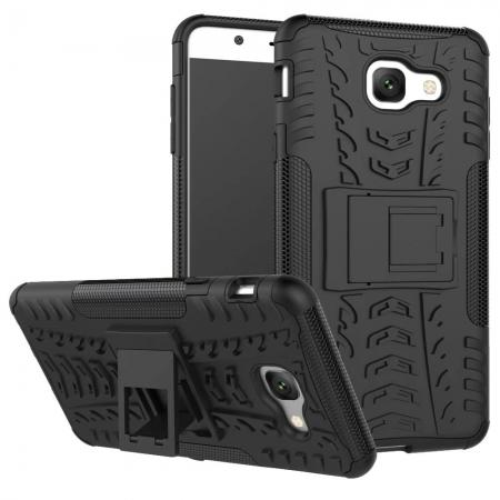 Hard and Soft TPU Hybrid Defender Kickstand Phone Case For Samsung Galaxy J7 Max - Black