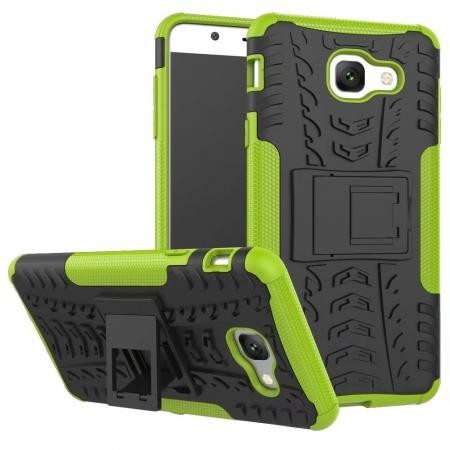 Hard and Soft TPU Hybrid Defender Kickstand Phone Case For Samsung Galaxy J7 Max - Green