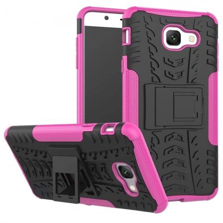 Hard and Soft TPU Hybrid Defender Kickstand Phone Case For Samsung Galaxy J7 Max - Hot pink
