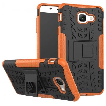 Hard and Soft TPU Hybrid Defender Kickstand Phone Case For Samsung Galaxy J7 Max - Orange
