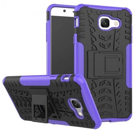 Hard and Soft TPU Hybrid Defender Kickstand Phone Case For Samsung Galaxy J7 Max - Purple