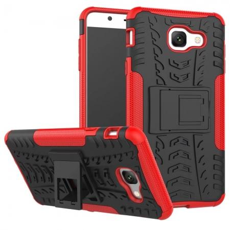 Hard and Soft TPU Hybrid Defender Kickstand Phone Case For Samsung Galaxy J7 Max - Red