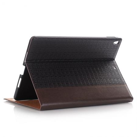 Luxury Crocodile Pattern Stand Book Leather Tablet Case For iPad Pro 10.5-inch - Coffee