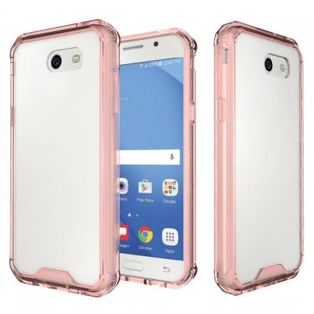 TPU Bumper with Clear Hard Acrylic Backplate Hybrid Case For Samsung Galaxy J3 Emerge - Rose gold