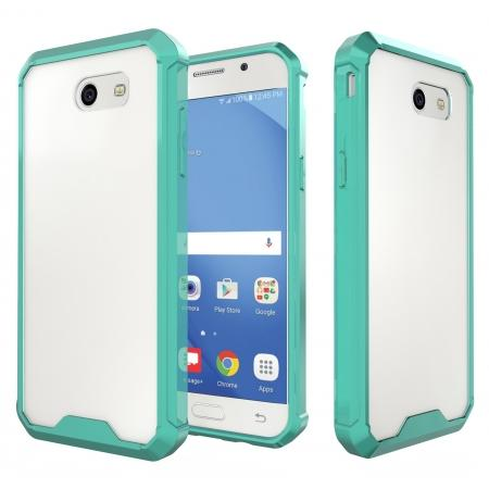 TPU Bumper with Clear Hard Acrylic Backplate Hybrid Case For Samsung Galaxy J3 Emerge - Teal