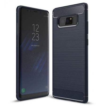 Carbon Fiber Brushed Shockproof TPU Rubber Case For Samsung Galaxy Note 8 - Navy Blue